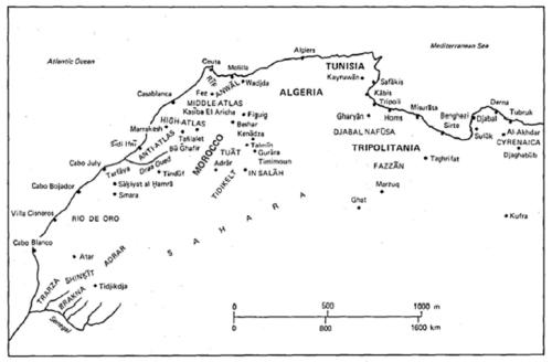 Principales regiones de Magreb y el Sahara (CESEDEN)