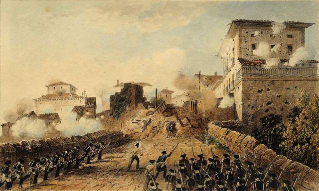 Puerta de Behobia de Irun, bajo el ataque de las fuerzas Reales Irlandesas, el 17 de mayo de 1837