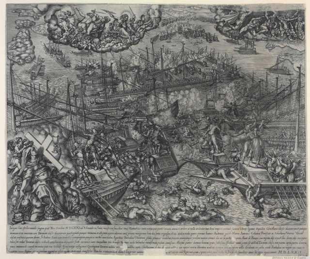 Batalla de Lepanto por Giovanni Battista de Cavalieri (1572)