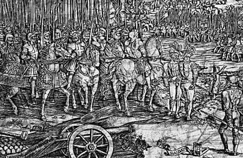 El tapiz de Carlos V pasando revista a las tropas, de Vermeyen en 1548, podría ser un buen ejemplo de un embarque de ejércitos en el siglo XVI.
