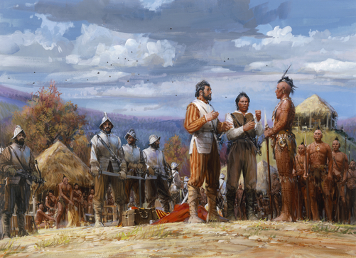 Spanish captain Juan Pardo meets with Creek and Cherokee Indians.