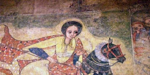 Diferentes interpretaciones de la reina de Saba (fresco medieval en Etiopía)