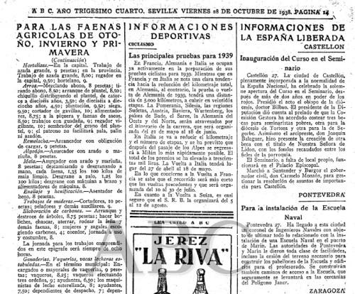 Noticia del ABC del 28 de octubre de 1938 anunciando la obras en las cercanías del polígono Janer en Marín.