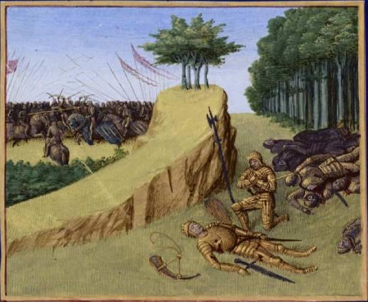 Batalla de Roncesvalles en 778. Muerte de Roldán, en las Grandes Crónicas de Francia, ilustradas por Jean Fouquet, Tours, hacia 1455-1460, BNF.