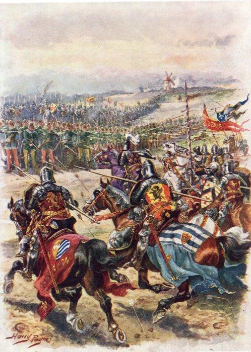 Batalla de Crècy por Harry Payne (1858–1927)