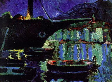 'Puerto de Cadaqués de noche'. Dalí, 1919.