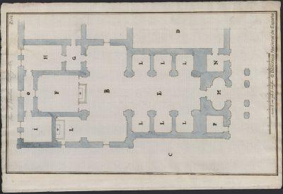 Plano para el segundo proyecto de reconstrucción de la iglesia de San Millán de Yuso; relacionado con otros dibujos del mismo álbum (Dib/16/49/167-Dib/16/49/169) proyectados por Giovanni Vincenzo Casale por mandato de Felipe II
