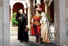 Representación romántica de fray Miguel, Gabriel y María Ana
