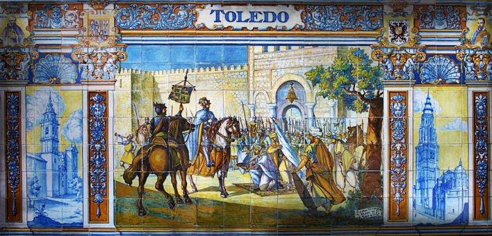 Azulejo que representa la entrada de Alfonso VI en Toledo (Sevilla, Plaza de España)