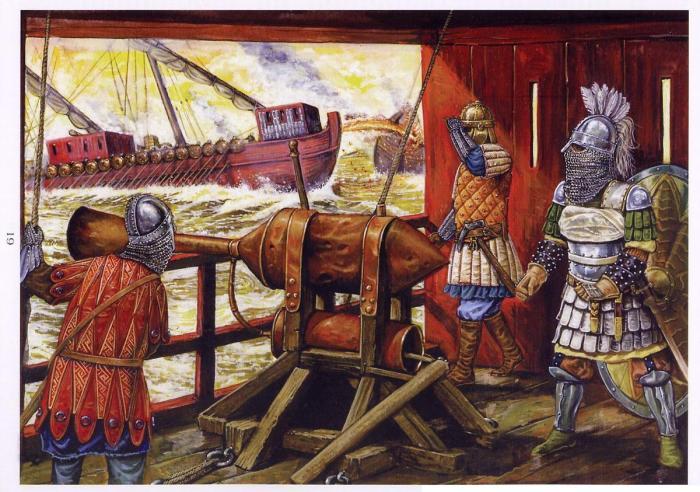 Fuego Griego en la flota bizantina
