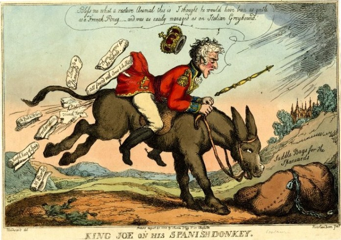 King Joe on his Spanish Donkey, caricatura de Thomas Rowlandson (27 de Agosto de 1808)