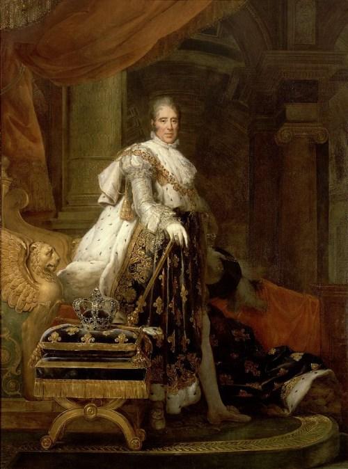 Carlos X, con atuendo de coronación por François Gérard (1829).[1] Museo del Prado.