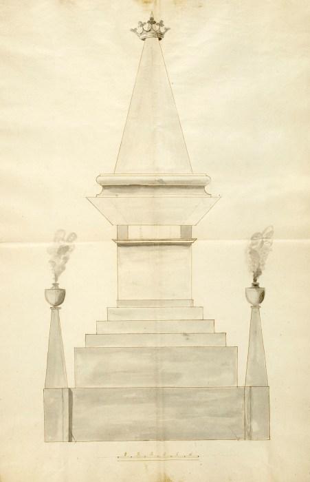 Diseño inicial del monumento funarario al Cid en el Espolón, 1809