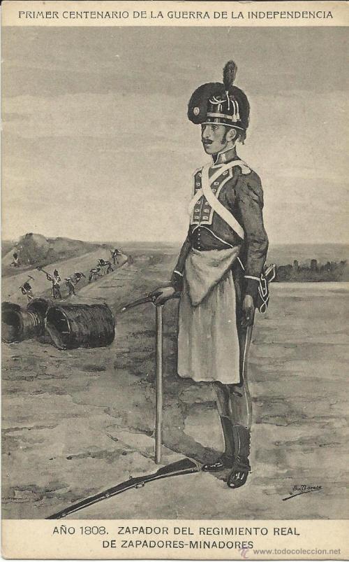 Zapador del Regimiento Real de zapadores-minadores en 1808 (Foto: todocolección)