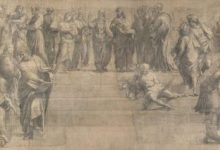 "Photo of El dibujo preparatorio de ""La escuela de Atenas"", de Rafael"