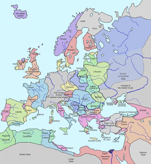 mapa europa 1328