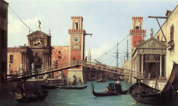 Vista de la entrada al Arsenal veneciano , de Canaletto, 1732.