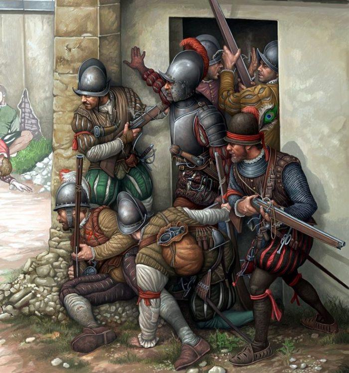 origen arcabuceros pólvora del rey