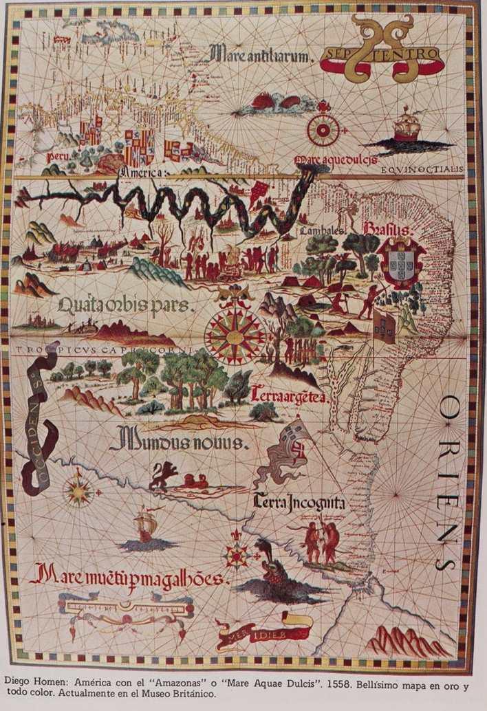 Mare Aquadulcis es, en latín, el primer nombre europeo del río Amazonas, dado por Vicente Yáñez Pinzón en 1500. Mapa del cartógrafo Diogo Homem, 1558.
