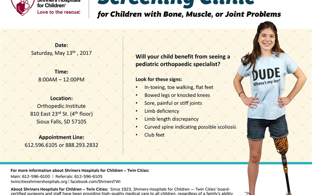 Free Orthopaedic Screening for Children with Conditions of the Bones, Muscles, and Joints