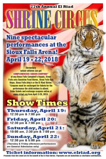 El Riad Shrine Circus Poster Sioux Falls 2018