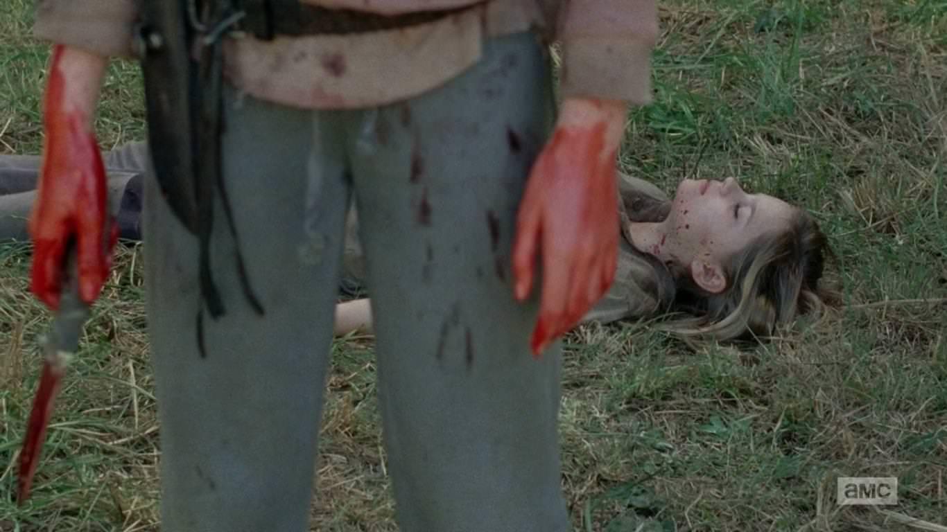 The Walking Dead 4x14 The Grove - Lizzie mata a su hermana Mika sin dañarle el cerebro