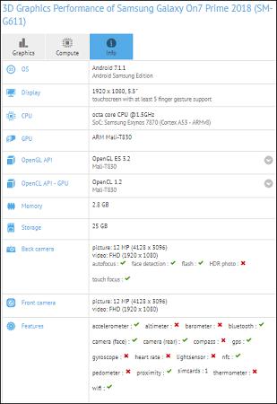 Samsung on7 prime especificaciones