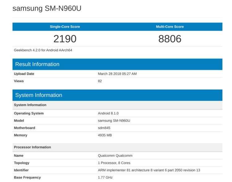 Samsung Galaxy Note 9 especificaciones de AnTuTu