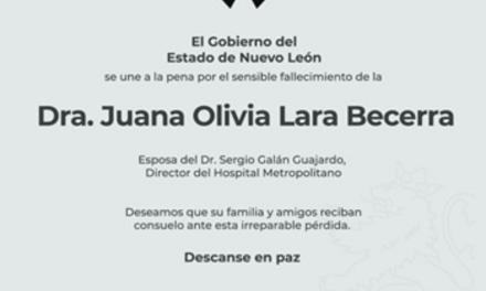 FALLECE LA DOCTORA JUANA LARA BECERRA, ESPOSA DEL DIRECTOR GENERAL DEL HOSPITAL METROPOLITANO