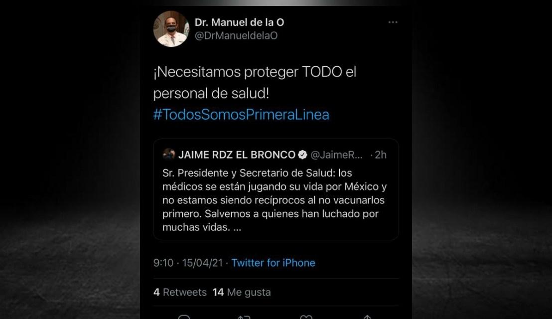 SALE MANUEL DE LA O EN DEFENSA DEL GRUPO DE MÉDICOS QUE PROTESTÓ AYER EN EL BBVA<br>