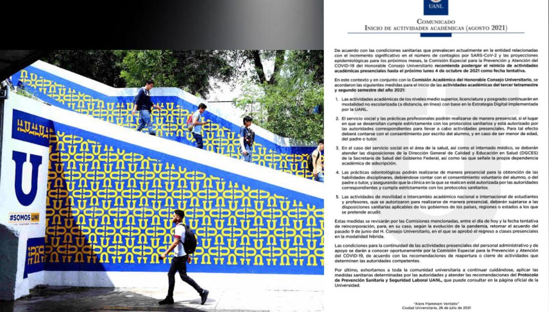 ¡ATENCIÓN UNIVERSITARIOS!, POR COVID REGRESO A CLASES PRESENCIAL SE POSPONE HASTA EL 4 DE OCTUBRE