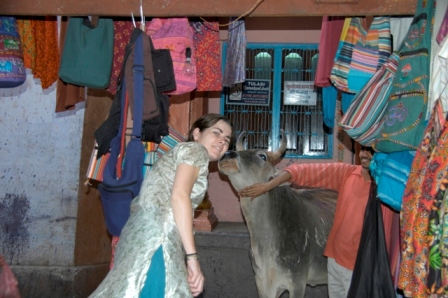 Varanassi, India, 2008. Will I also be holy if I get a lick from a holy cow?