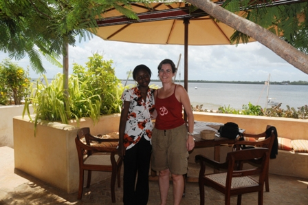 Having a quick drink at Lamu House and saying Hello to Frank, the owner