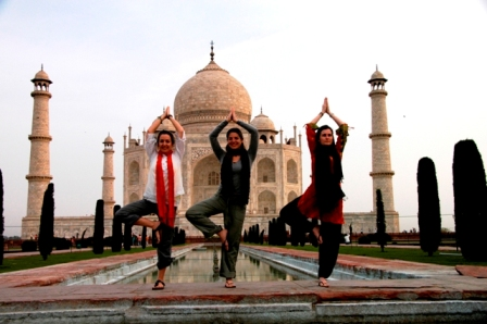 Agra, India, 2008. Bored of the typical pictures with the Taj Mahal, why not the tree asana?