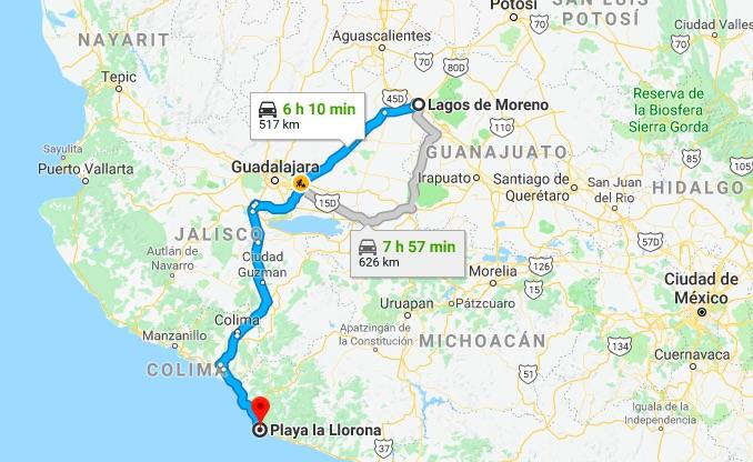 Ruta para llegar a la Playa La Llorona en Michoacán desde Lagos de Moreno