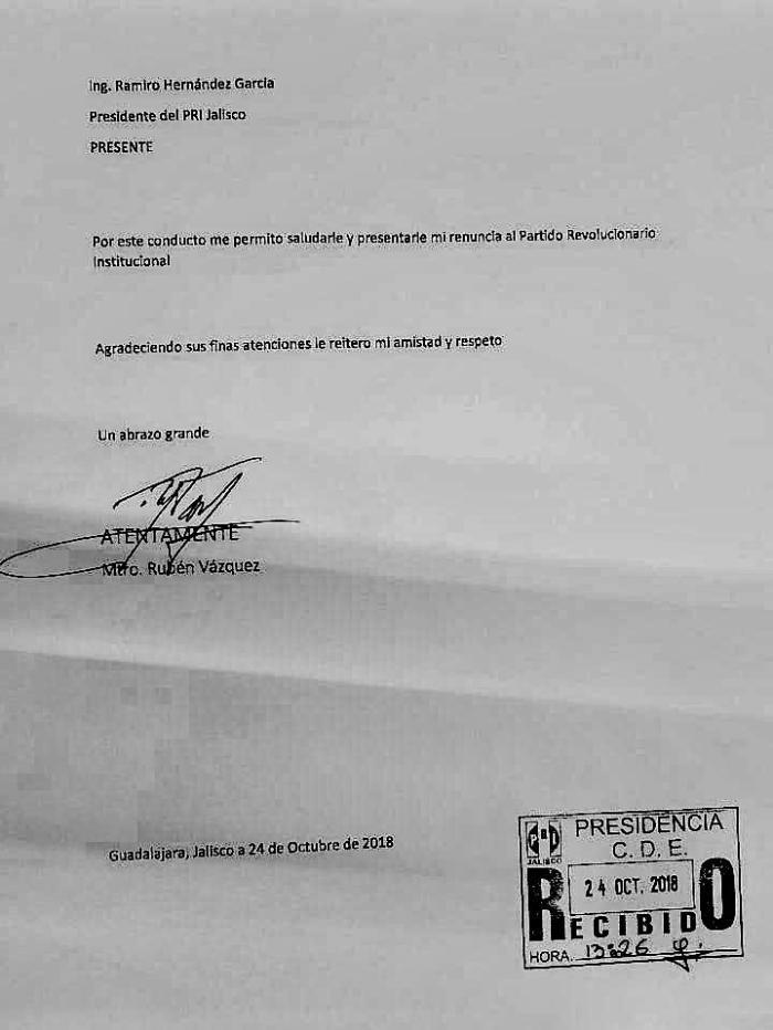 Carta de renuncia de Rubén Vázquez al PRI