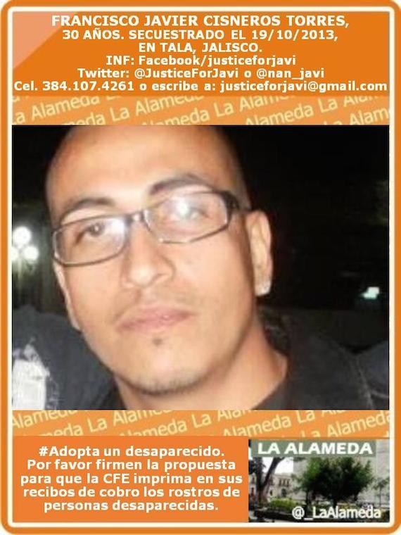 A Javier Cisneros lo busca su familia desde 2013. Se lo llevaron de la casa de un vecino, en la cabecera municipal de Tala. Foto tomada del sitio Laalameda.mx
