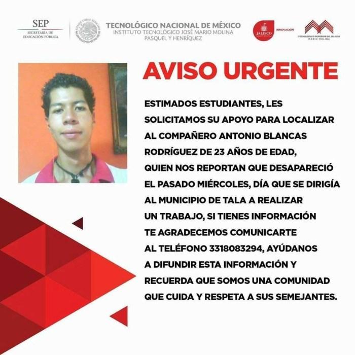 Estudiante desaparecido en Jalisco