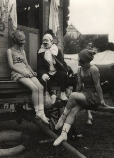 Thora and Nellie joking with clown, Travelling Circus, c.1918
