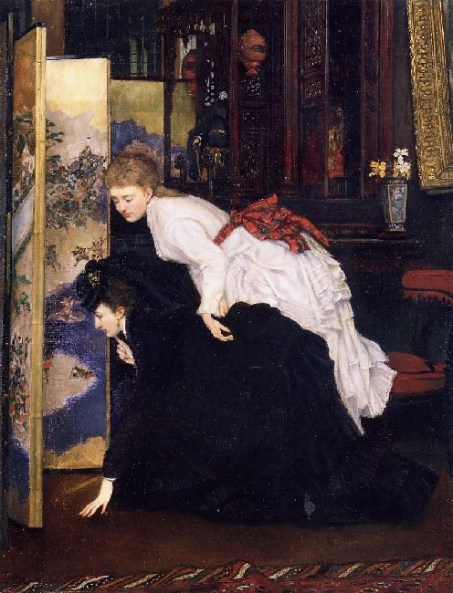 Fashionable young women inspect a Japanese screen, in a painting by James Tissot, ca 1869-70Japonism
