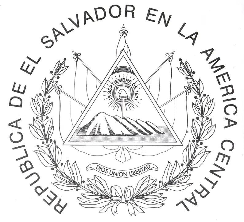 Escudo de El Salvador para colorear El Salvador