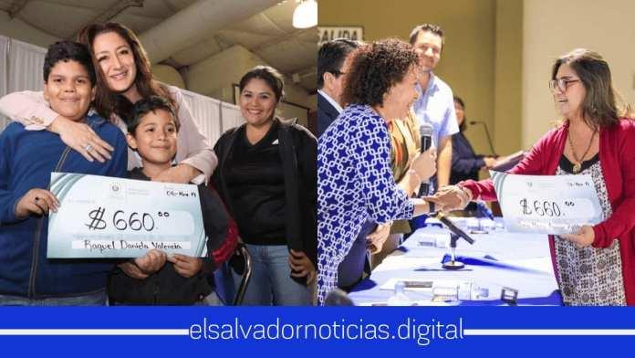 Ministra Michelle Sol entrega cheques por 660 dolares a familias afectadas por cárcava