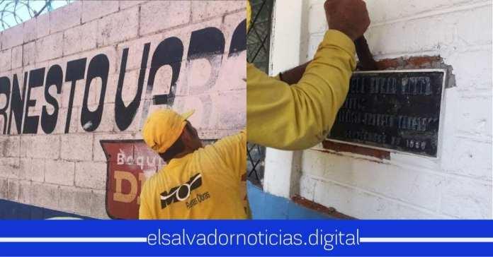 Ministerio de Obras Públicas remueven nombre del Coronel Ernesto Vargas en Centro Escolar de Morazán