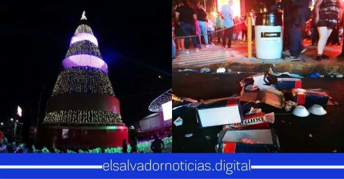 Así quedaron las calles, luego de la iluminación del árbol en El Salvador del Mundo