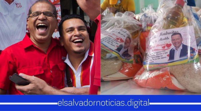 Alcaldes del FMLN aprovechan la necesidad de la gente y ponen sus caras en paquetes alimenticios que está entregando el Gobierno