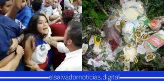 Fanáticos de ARENA Y FMLN tiran paquetes y prefieren pasar HAMBRE
