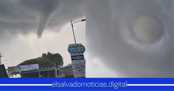 Impresionantes imágenes de un torbellino fueron captadas en cielo salvadoreño