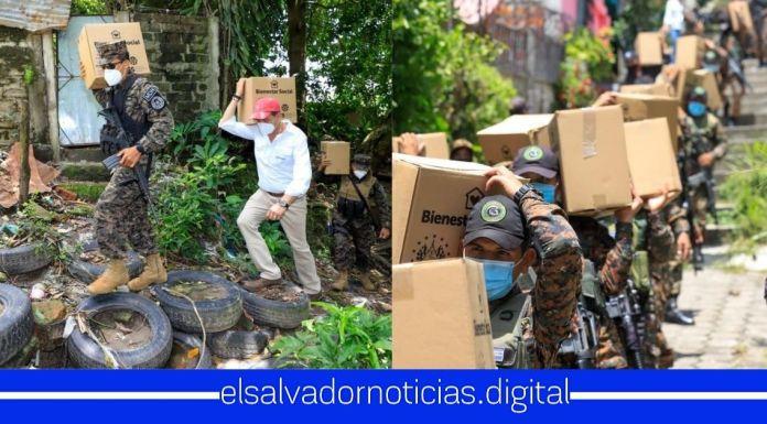 Ministro Monroy junto a elementos de la FAES continúan sirviendo a la población salvadoreña llevando alimentos, mientras los diputados disfrutan de sus vacaciones