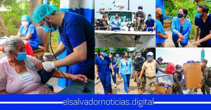 Ministros de Salud, Defensa y Vivienda trabajan de manera articulada en isla Tasajera a garantizando el bienestar de los salvadoreños