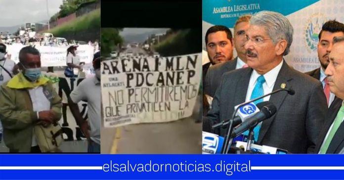 Salvadoreños realizan marcha hacia la Asamblea para exigir no privatizar el Seguro Social
